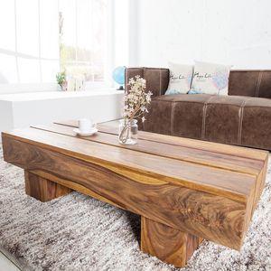 Massiver Design Couchtisch BOLT 100cm Sheesham stone finish Beistelltisch Sofatisch Wohnzimmertisch