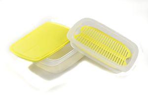 TUPPERWARE Cool`N Fresh 1,5 L + 700 ml + Deckel gelb + Frischegitter gelb + SPÜLTUCH