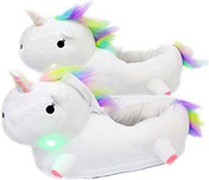 Einhorn Hausschuhe Fantasy Unicorn Plüsch Leuchtend Kuschelig Neuheit Tier Pantoffeln - Einheitsgröße 35-43