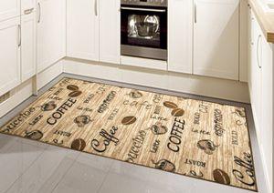 Teppich Modern Flachgewebe Gel Läufer Küchenteppich Küchenläufer Braun Beige Schwarz mit Schriftzug Coffee Cappuccino Espresso Latte Größe - 80 x 250 cm