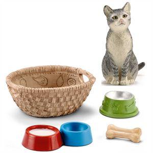Schleich - 13771 Katze, sitzend + 42293 Futter für Hunde & Katzen
