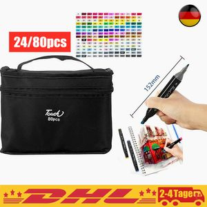 Neu 24/80 Pcs Farbe CopicMarker Lackmarker Stifte Architektur Twin Tip Graffiti Draw Pen,mit Tragetasche,24 pcs