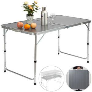 Casaria Campingtisch Klapptisch Alu klappbar mit Tragegriff 120 x 60 x 70 cm Gartentisch Camping Garten Tisch, Farbe:Grau
