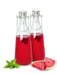 2er Set Glasflasche mit Bügelverschluss und Griff 1000ml Milchflasche Saftflasche