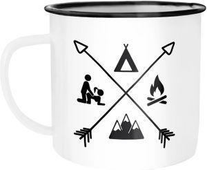 Emaille Tasse Becher Outdoor Design Camping Symbole lustig Travelling Trekking Kaffeetasse Moonworks® weiß-schwarz Emailletasse