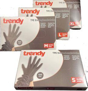 TPE Einweghandschuhe schwarz Inhalt 100 Stk. puderfrei latexfrei (L)