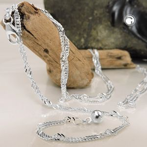 Singapurkette Bikinikette Bauchkette 2 mm Singapur diamantiert 925 Silber 100 cm inkl. kleiner Schmuckbox