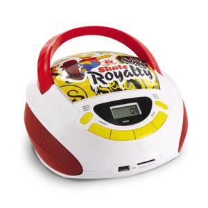The Simpsons Bart-Rider UKW/FM Radio und CD-Player Boombox mit USB/SD, MP3-Wiedergabe, 477454