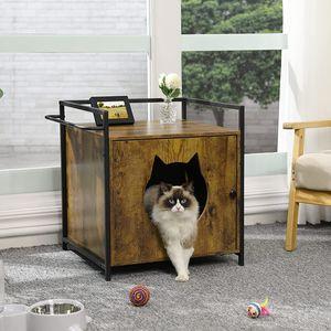Katzenhaus Katzenhöhle Katzenklo Katzenschrank Katzenkommode Katzentoilette Holz Schrank Katzenvilla Katzenhütte
