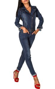 Damen Jeans Anzug Overall Biker Jumpsuit Hosenanzug Einteiler Asymmetrisch, Farben:Dunkelblau, Größe:40