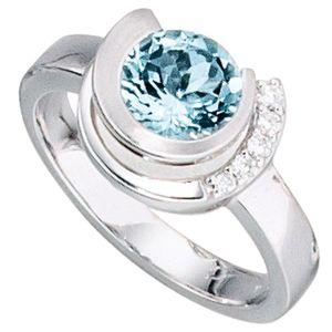JOBO Damen Ring 585 Gold Weißgold 5 Diamanten Brillanten 1 Aquamarin blau Größe 54