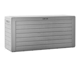 Gartenbox Holzoptik Auflagenbox 120cm Kissenbox wasserdicht XXL Gartentruhe Grau