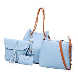Damen Leder Tote Geldbörse Und Handtaschen Set Hellblau wie beschrieben
