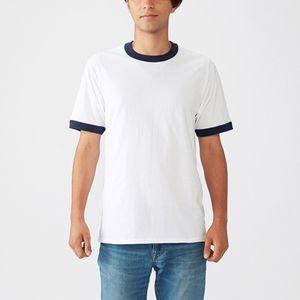Männer Einfarbig Rundhalsausschnitt Kurzarm Tops Casual T-Shirt Lose Bluse Pullover,Farbe: Weiß Blau,Größe:M