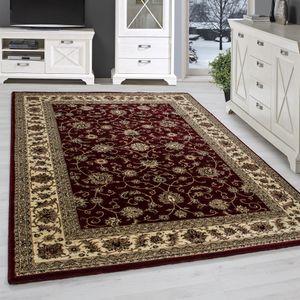 Orient Klassik Wohnzimmerteppich Teppich Edle Bordüre Traditionelle Rot Beige, Grösse:200x290 cm