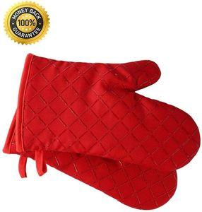 Premium Anti-Rutsch Ofenhandschuhe (2er Set) bis zu 240 °C - Silikon Extrem Hitzebeständige Grillhandschuhe BBQ Handschuhe - Backofen Handschuhe, zum Kochen, Backen, Barbecue Isolation Pads (Rot)