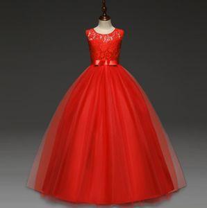 Kinder Spitzenhochzeitsabendkleid Partykleid Blumenmädchen Tüll Prinzessin Kleid Größe:150 Rot