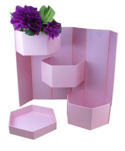 38cm x 18cm x 21,5cm Aufbewahrungsbox   Dekobox mit Deckel   Flowerbox    Hutschachtel   Ordnungsbox   Blumenstrauß  Dekoration   Geschenkbox   Geschenkschachtel   Blumenbox l Rosenbox Farbe Rosa