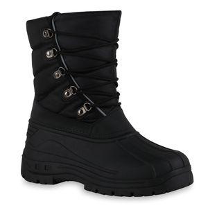 Mytrendshoe Herren Warm Gefütterte Winter Boots Stiefel Bequeme Schnür-Schuhe 836187, Farbe: Schwarz, Größe: 42
