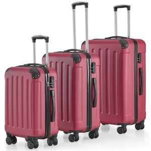 Juskys Hartschalen-Koffer Set Yara 3-teilig – 3 Trolley mit Schloss, Griff und 360° Rollen – Reisekoffer Hartschale leicht bordeaux rot