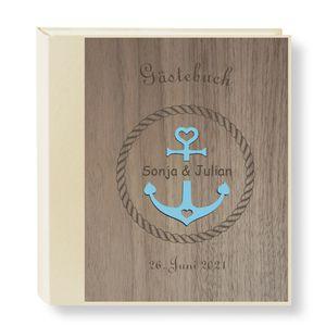 Gästebuch Personalisiert Holz Nussbaum Seatime Fotobuch Hochzeitsbuch Album Geschenk