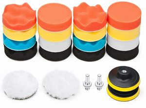 Polierset für Bohrmaschine, 80mm/3 inch Polierschwamm Wolle Polierteller mit Polieraufsatz Akkuschrauber Polierpad Set für Auto Bohrmaschine und Poliermaschine Exzenter, 22pcs