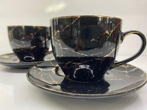 Zellerfeld 12tlg. Kaffeeservice Kaffee Service Tassen Untertassen Marmor Design 200ml Schwarz/Gold (TRM-2663-2)