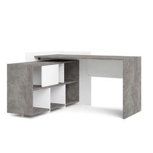 Plus Schreibtisch Eckschreibtisch Beton Nachbildung Weiß Tisch Arbeitstisch Bürotisch