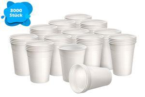 Einwegtrinkbecher 0,2 Liter weiß | 3000 Stück | Partybecher aus Kunststoff | Ideal für Feste - wie Geburtstage, Grillparties, sowie für Hygienebereiche - Patienten, Pflege UVM.