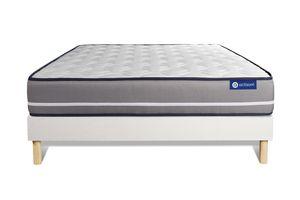 Actilatex pur matratze 120 x 190cm + Bettgestell mit lattenrost , Härtegrad 4 , Latex und Memory-Schaum , Höhe : 20 cm
