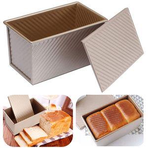 Rechteck Toast Brot Backform Gebäck Kuchen Brotbackform Mold Backform mit Deckel, 20cm, Gold