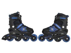 Inliner Skate Soft-Boot Kinder Jugend Größenverstellung 5 Größen verstellbar Stars blau unisex, Größe:37-41