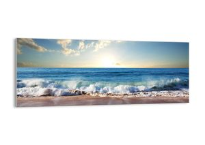 """Glasbild - 100x40 cm - """"Bewegung und Stille zugleich""""- Wandbilder  - Meer Wellen Sand  - Arttor - GAB100x40-3551"""