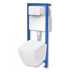 Domino Lavita Vorwandelement inkl. Drückerplatte+ Lino Wand-WC ohne Spülrand + WC-Sitz mit Soft-Close Absenkautomatik Drückerplatte: MW (weiß)