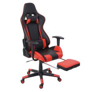 Relax-Bürostuhl HWC-D25 XXL, Schreibtischstuhl Gamingstuhl, 150kg belastbar Fußstütze  schwarz/rot