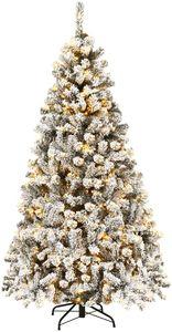 COSTWAY 180cm Künstlicher Weihnachtsbaum mit Schnee und 250 warmweißen LED-Leuchten, Tannenbaum mit Metallständer, Christbaum 600 Spitzen PVC Nadeln, Kunstbaum Weihnachten Klappsystem
