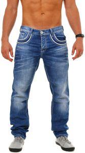 CIPO & BAXX Herren Denim Jeans Hose Kontrast Optik Vintage Look Straight Cut Regular Fit C-1127, Grösse:W32/L32, Farbe:Blau