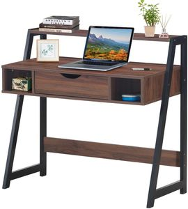 GOPLUS Schreibtisch mit Metallgestell, Arbeitstisch mit Ablage und Schublade, Stabile Trapezstruktur, Industrie-Vintag-Look, für Jugendzimmer, Arbeitszimmer, belastbar bis 55 kg