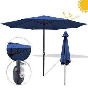 Wolketon 3m-3.5m Sonnenschirm Marktschirm mit Handkurbel UV40+ Outdoor-Schirm Terrassen Gartenschirm,Blau,3m