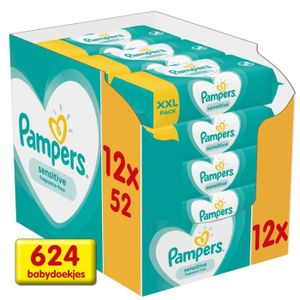 Pampers Sensitive Feuchttücher 12 x 52 stück Vorteilsverpackung Vorrat