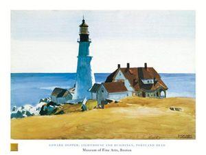 Edward Hopper - Lighthouse and Buildings Kunstdruck 80x60cm.