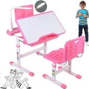 Kinderschreibtisch Jugend-Schreibtisch Set mit Stuhl und LED Leselampe verstellbar 51-73CM Schüler Zeichentisch Satz Rosa