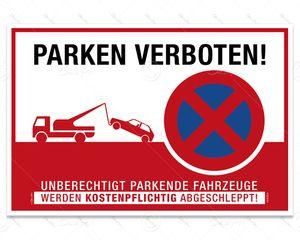 Despri Schild 'Parken verboten' Hinweisschild, S0004, Aluverbund, 3 mm, 30x20 cm, UV-Lack