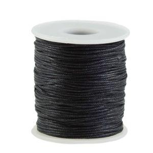 90m gewachste Baumwollschnur 1mm Wachsschnur Schmuckkordel Schnur, Farbwahl, Farbe:schwarz