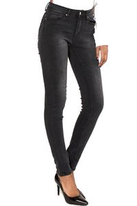 Damen Skinny Jeans Denim Röhrenjeans Mid Push Up Effekt Used-Wash Stretch Casual, Farben:Dunkelgrau, Größe:36