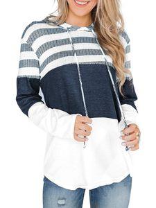 Damen Casual Loose Langarm Hoodie Sweatshirt Top,Farbe: Weiß,Größe:XL