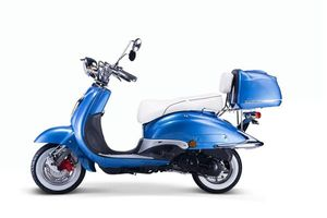 Motorroller, Moped, Mofa 50 ccm Klassik Azuro 4.0 blau Sitzbank weiss
