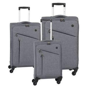 CHECK IN LISSABON Kofferset 3tlg. Grau/Schwarz
