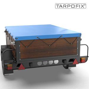 Tarpofix® Anhängerplane 170x110x7,5cm mit Planengummi - PKW Flachplane für DDR Anhänger HP500 & HP650 I Anhänger Abdeckplane