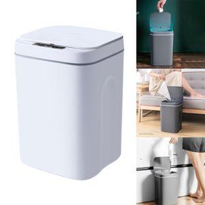 Automatischer Plastikmülleimer, Sensor Küchenmülltonne, Stromversorgung durch 16L Weiß Induktionsart Solide Sensor Mülleimer